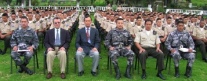 Meditating military personnel and instructors in Latin America.